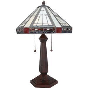 Table Lamp, Ant. Bronze/tiffany Shade, E27 Cfl 13wx2