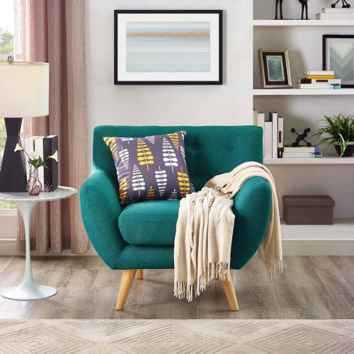 Remark Upholstered Fabric Armchair in Teal