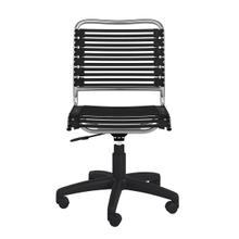 See Details - Allison Bungie Flat Low Back Office Chair In Black With Aluminum Frame Finish and Black Base