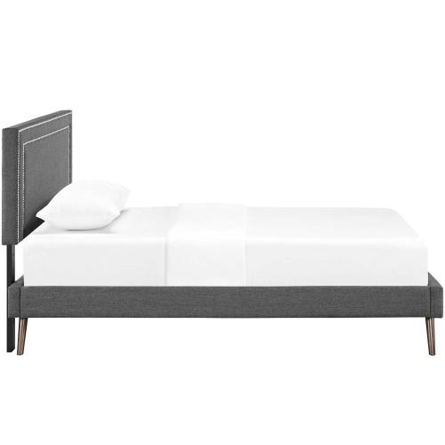 Virginia Twin Fabric Platform Bed with Round Splayed Legs in Gray