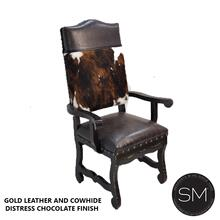 Distressed Leather Chair Cowhide Dining Chair
