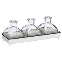 See Details - Mini Triple Bud Vase in Black & White Enamel Tray