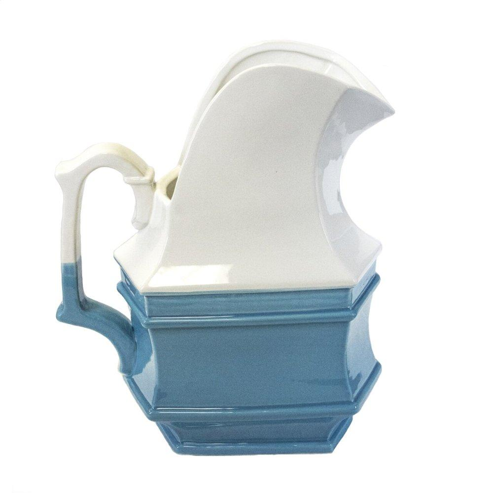 White/blue Ceramic Pitcher