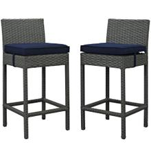 Sojourn 2 Piece Outdoor Patio Sunbrella® Pub Set in Canvas Navy