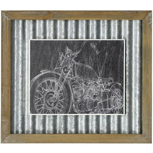 Style Craft - MOTORCYCLE SKETCH II  14in X 16in  Made in the USA  Textured Framed Print