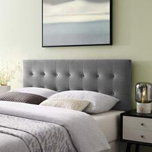 Emily Queen Biscuit Tufted Performance Velvet Headboard in Gray