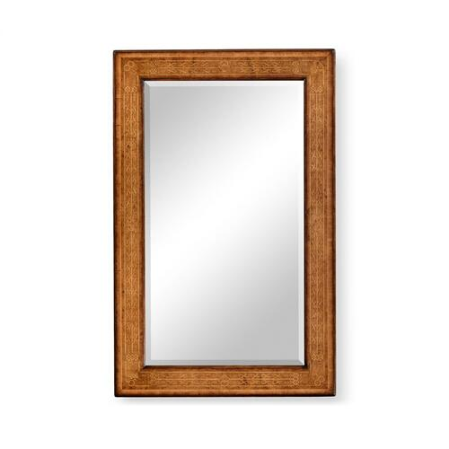 Rectangular burl walnut veneer mirror