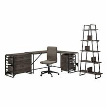 See Details - 62W L Shaped Industrial Desk and Chair Set with Storage, Dark Gray Hickory