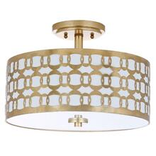 Cedar Linked 3 Light 15-inch Dia Goldflush Mount - Gold