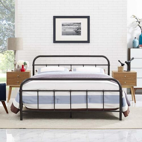 Maisie Queen Stainless Steel Bed Frame in Brown