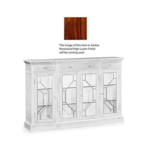 4-Door Breakfront Display Cabinet with Stainless Steel Details, High Lustre