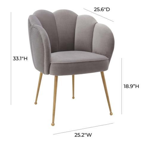 Peony Grey Velvet Dining Chair