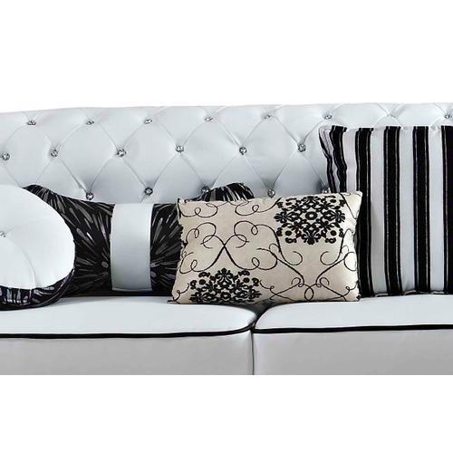 Divani Casa J607 Modern White & Black Bonded Leather Sofa Set w/ Coffee Table
