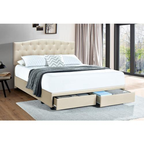 Accentrics Home - Queen Tufted Storage Bed in Linen