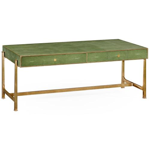 Green faux shagreen gilded coffee table