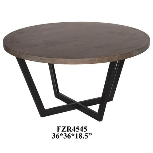 Crestview Collections - Tremont Slanted Metal and Wood Round Cocktail Table