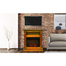 Cambridge Sienna 34 In. Electric Fireplace w/ 1500W Log Insert and Teak Mantel, CAM3437-1TEK