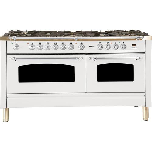 Nostalgie 60 Inch Dual Fuel Natural Gas Freestanding Range in White with Chrome Trim