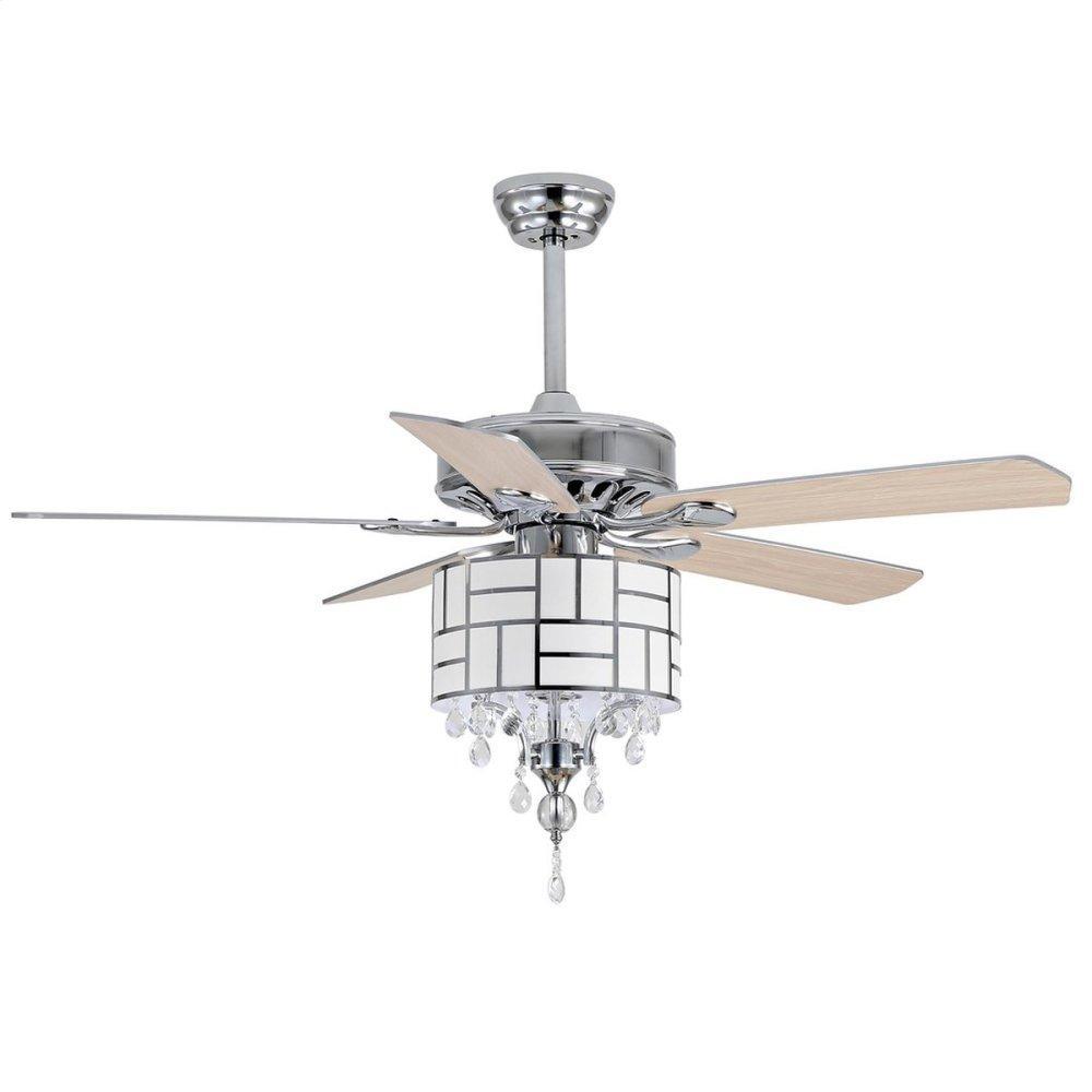 Fint Ceiling Light Fan - Silver / White Maple