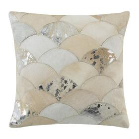 Metallic Scale Cowhide Pillow - White / Silver