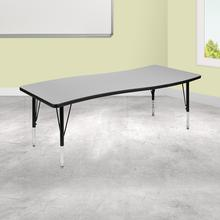 "26""W x 60""L Rectangular Wave Collaborative Grey Thermal Laminate Activity Table - Height Adjustable Short Legs"
