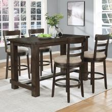 See Details - Kessel Brown Brushed Wood Counter Height 5-Piece Dining Set