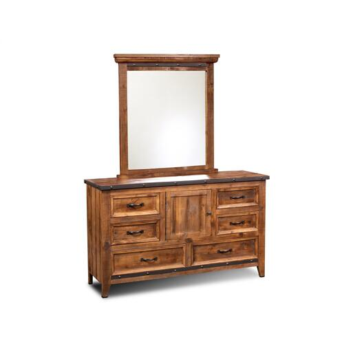 Bedroom Mirror w/ Metal Accents - Rustic Collection