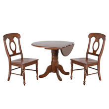 See Details - Round Drop Leaf Dining Set w/Napoleon Chairs Chestnut (3 Piece)