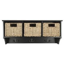 Finley Hanging 3 Basket Wall Rack - Black