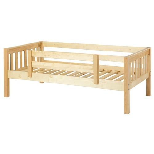 See Details - Daybed w/ Back and Front Safety Rails : Twin : Natural : Slat