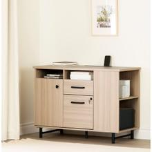 Zelia - 2-Drawer Credenza With Open and Closed Storage, Soft Elm