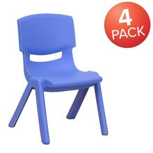 4 Pack Blue Plastic Stackable School Chair with 10.5'' Seat Height [4-YU-YCX-003-BLUE-GG]