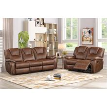 8083 BROWN 2PC Manual Recliner Air Leather Living Room SET