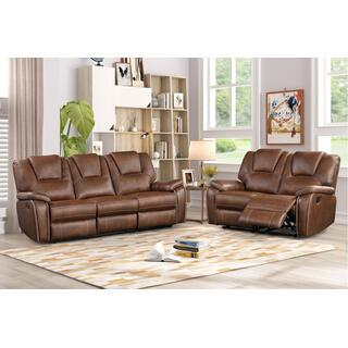 See Details - 8083 BROWN 2PC Manual Recliner Air Leather Living Room SET