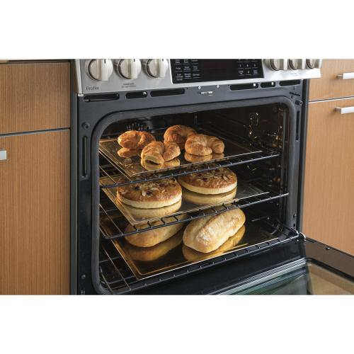 "GE Profile 30"" Gas Slide-In Front Control Convection Range with Storage Drawer Stainless Steel PCGS930SELSS"
