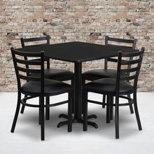 Product Image - 36'' Square Black Laminate Table Set with X-Base and 4 Ladder Back Metal Chairs - Black Vinyl Seat