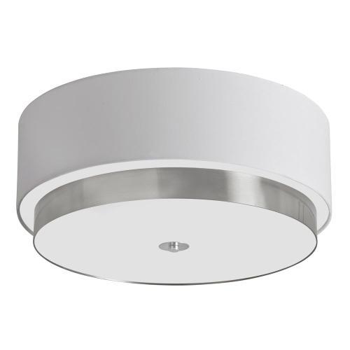 """20""""flush-mount W/white Linen Shd"""