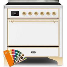 Majestic II 36 Inch Electric Freestanding Range in Custom RAL Color with Brass Trim