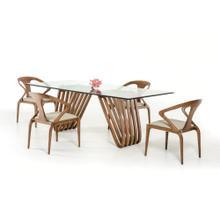 Modrest Draper Contemporary Walnut & Glass Dining Table