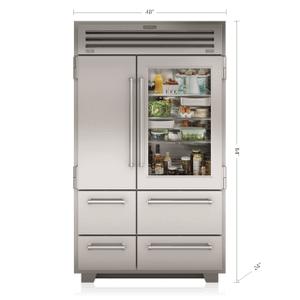 """Subzero48"""" PRO Refrigerator/Freezer with Glass Door"""