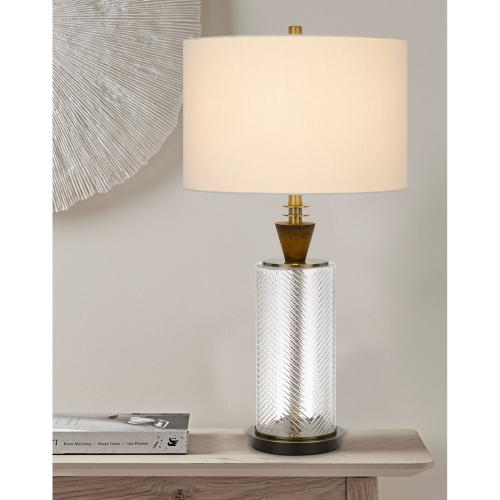 150W 3 way Sherwood glass table lamp with wood font and hardback fabric drum shade