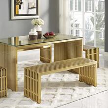 Gridiron Medium Stainless Steel Bench in Gold