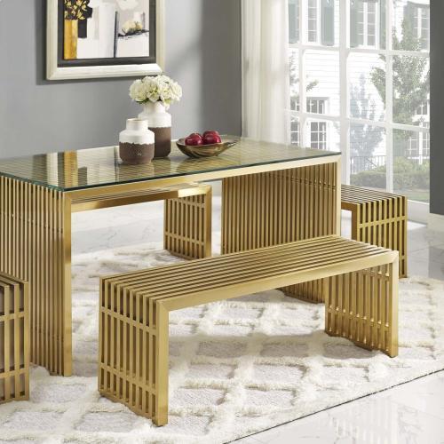 Modway - Gridiron Medium Stainless Steel Bench in Gold