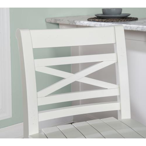 Planked Seat and Small X Motif Back Barstool, White