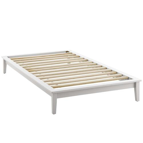 Lodge Twin Wood Platform Bed Frame in White