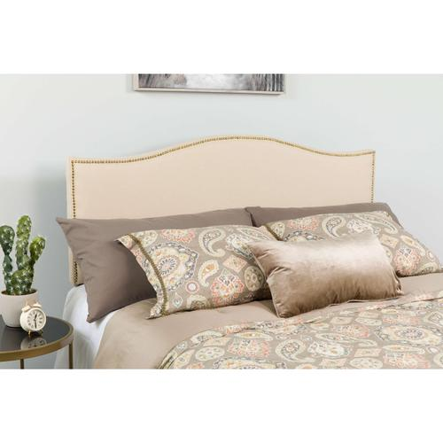 Flash Furniture - Lexington Upholstered King Size Headboard with Accent Nail Trim in Beige Fabric