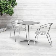 See Details - 23.5'' Square Aluminum Indoor-Outdoor Table Set with 2 Slat Back Chairs