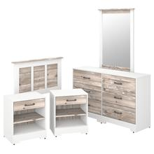River Brook Bedroom 5 Piece Twin Size Bedroom Set - White Suede Oak/Barnwood