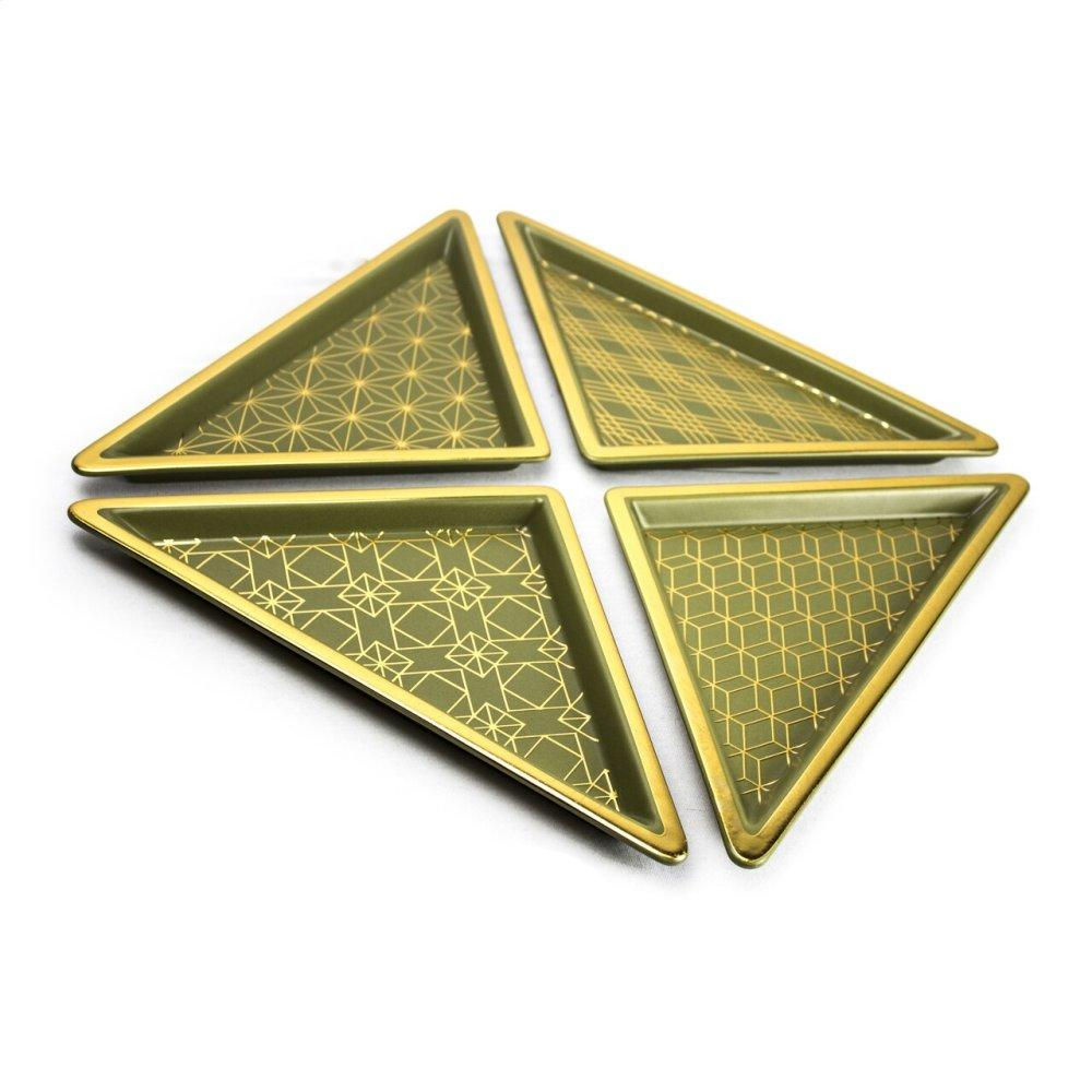 See Details - S/4 Green/gold Ceramic Triangle Trays