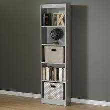 5-Shelf Narrow Bookcase - Soft Gray